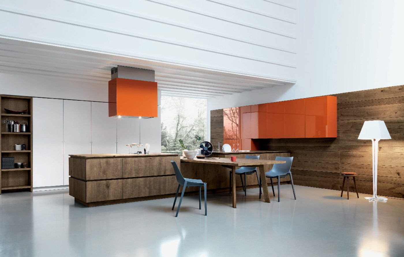 Colored Kitchen In Orange By Cesar