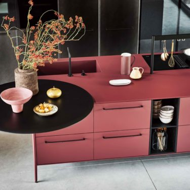 Red Cesar Kitchen Island With Open Compartments