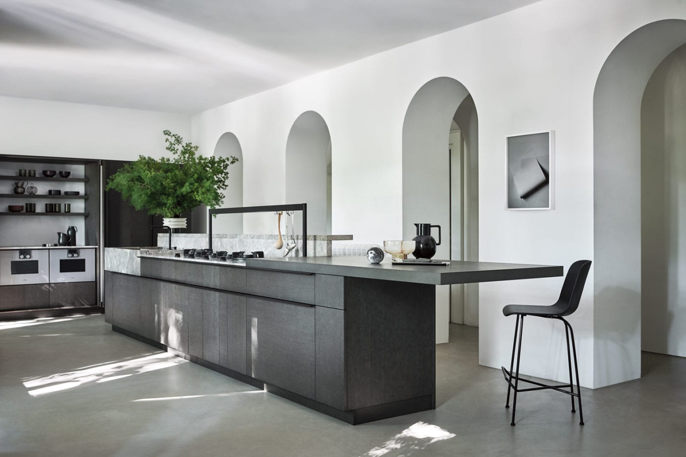 Cesar Intarsio Kitchen in Rovere Fossile Wood and Marble